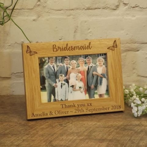 Bridesmaid Wooden Photo Frame Personalised Wedding Gift, Butterfly Design